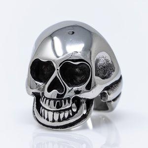 Solid Stainless Steel Skull Biker Ring